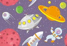 Laeacco Baby Party Cartoon Spaceship Planet  Photography Backgrounds Digital Customized Photographic Backdrops For Photo Studio