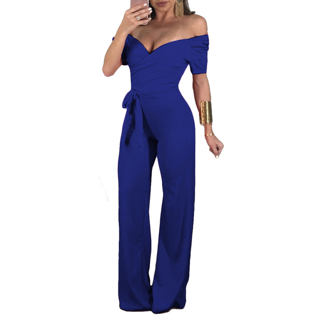 Rompers Womens Jumpsuit Plus Size Playsuit Women Summer Jumpsuits For 2019 Female Overalls Sexy Open Shoulder Bodysuit Sleeve