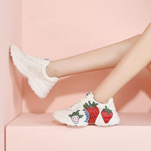 Liren New Fashion White Sneakers Women Fruit Cartoon Pattern Thick-soled Sports Board Shoes Cross-tie Lace-up Lady Casual