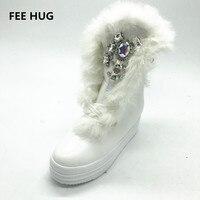 手作りソーオンストーン石キツネの毛皮の革雪のブーツ防水プラットフォームのかかと冬暖かいブーツ靴女性のブーツ35-41