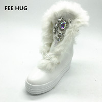 Handmade Sew On Rhinestone Stone Fox Fur Leather Snow Boots Waterproof Platform Heels Winter Warm Boots