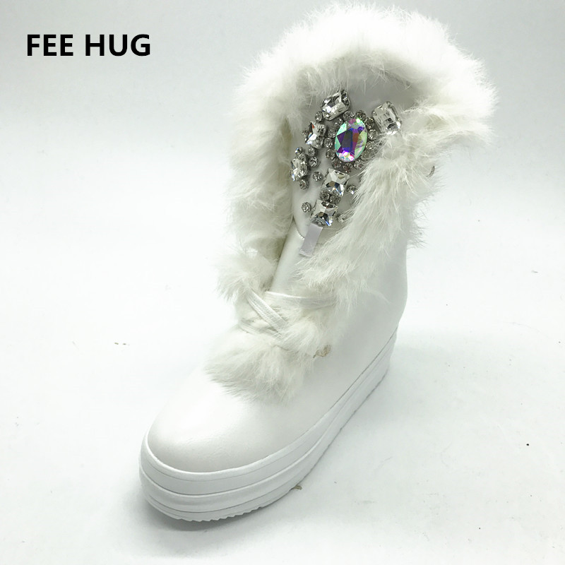 Handmade sew-on rhinestone stone fox fur leather snow boots waterproof platform heels winter warm boots shoes woman boots 35-41