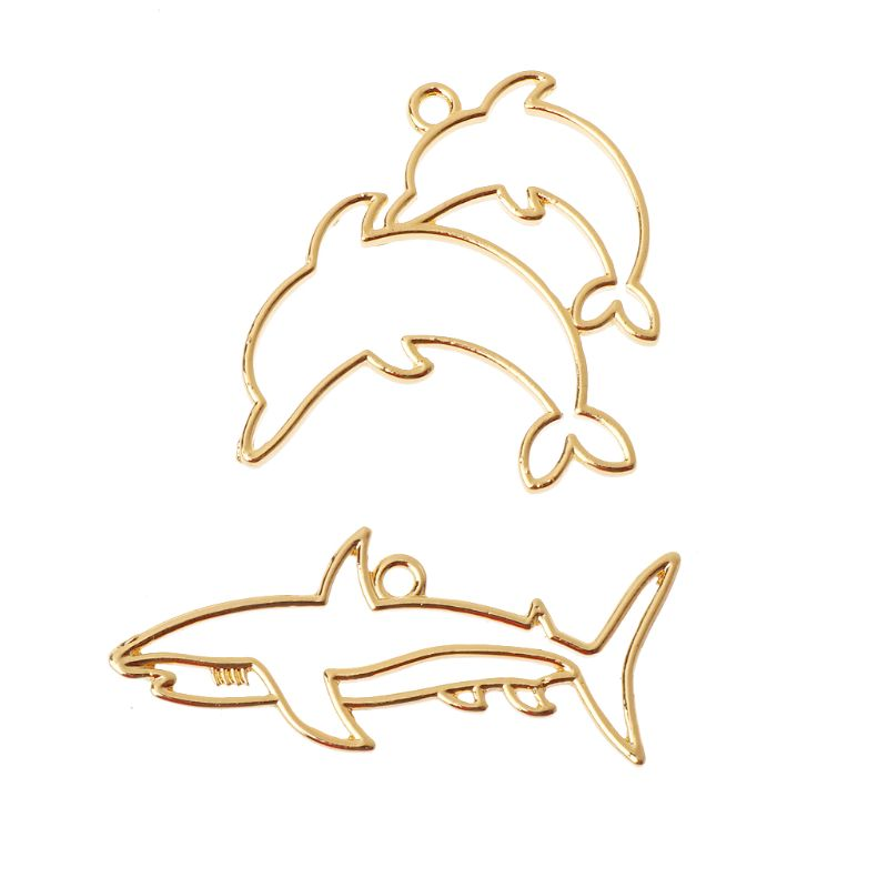 2 pièces Dauphin Requin Blanc Cadre En Résine Pendentif Ouvert Lunette Cadre Fabrication de Bijoux