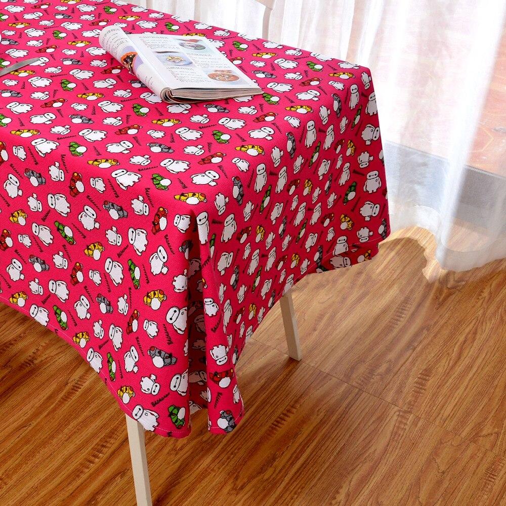 Latest High Grade Eco Friendly Rose Red Cartoon Baymax Table Cloth