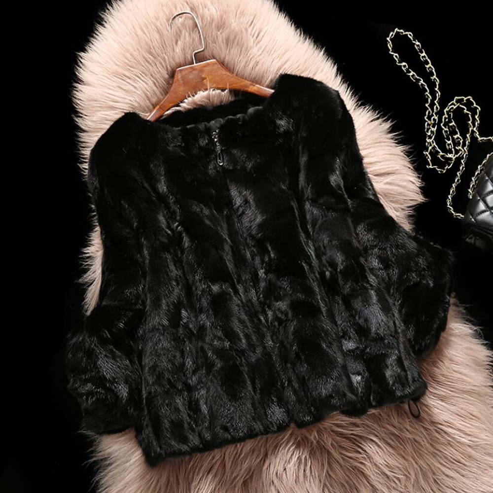 2019 Top Fashion Brand 100 Pure Genuine Mink Fur Coat has zipper and warm Real Mink