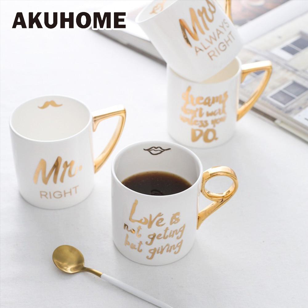 Criativo Bone China Caneca 24 K Ouro-banhado Estilo Europeu de Cerâmica Xícaras de Café de Porcelana Xícaras de Leite de Mr Mrs AKUHOME
