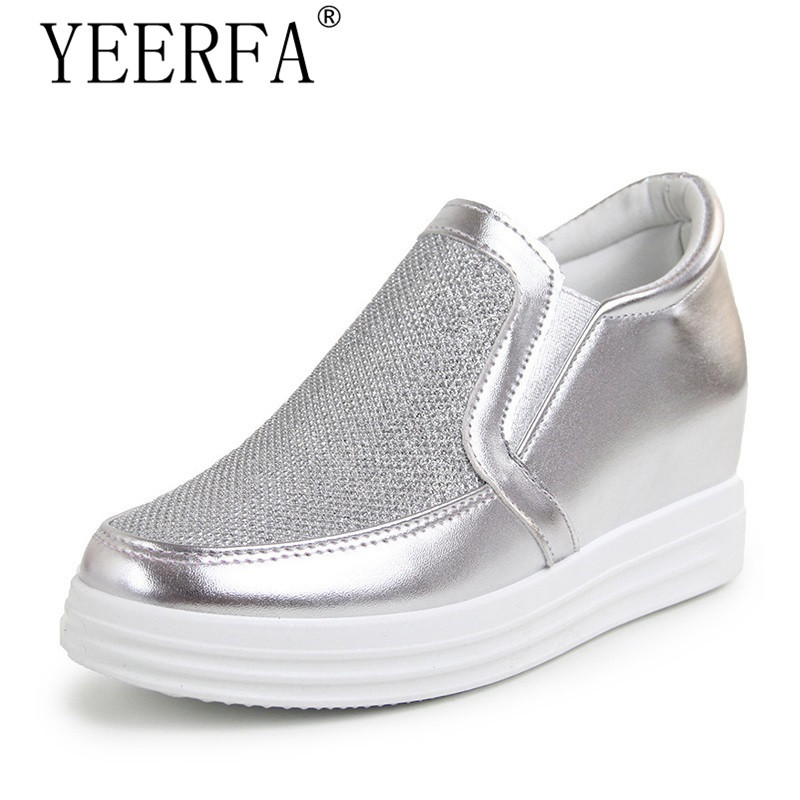 YIERFA Quality Increased Platform Shoes Woman Silver Creepers Platform Solid Slip On Casual Autumn Loafers Shoes For Women цены онлайн