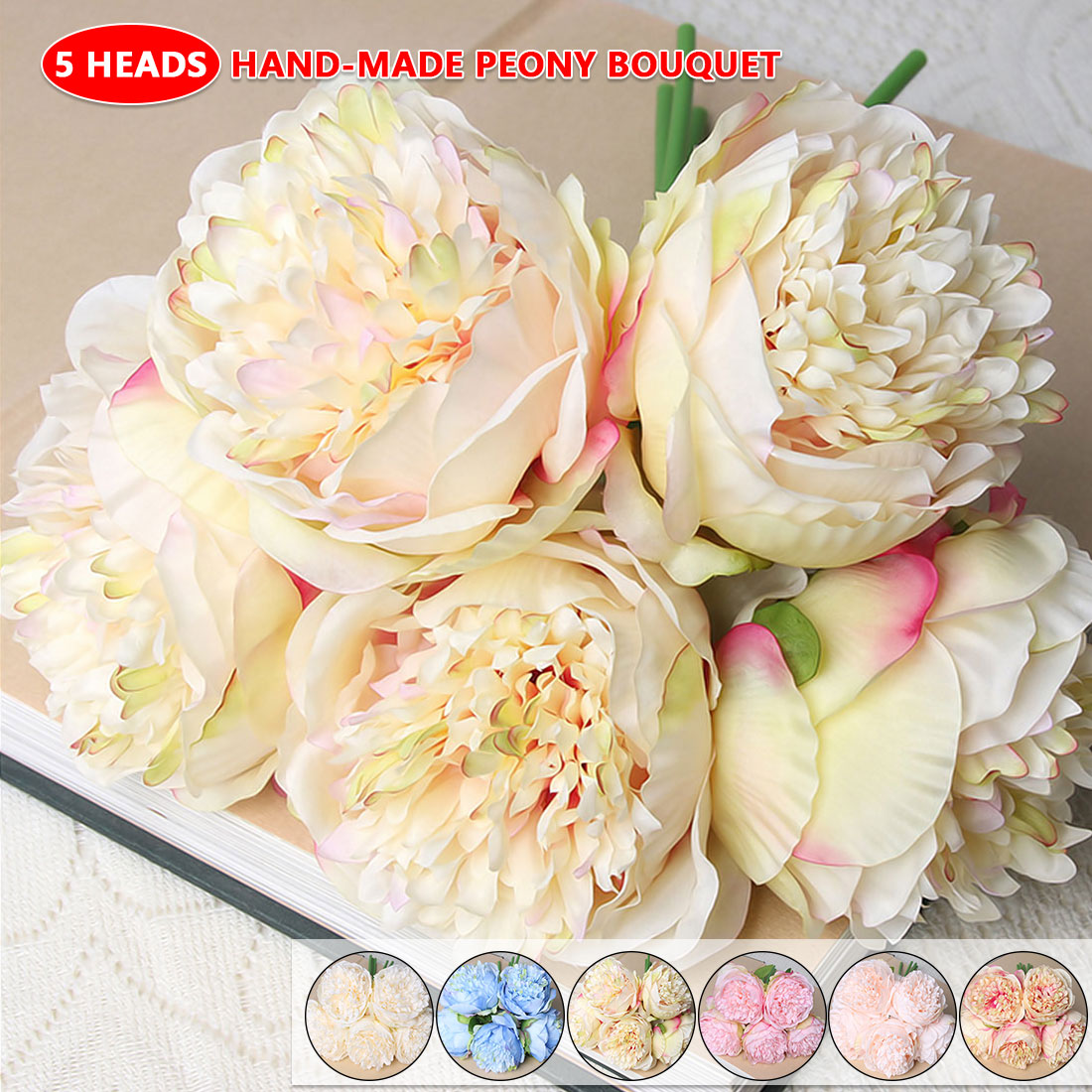Fake Peony Dahlias Artificial Flowers 5 Heads Silk Flower Wedding