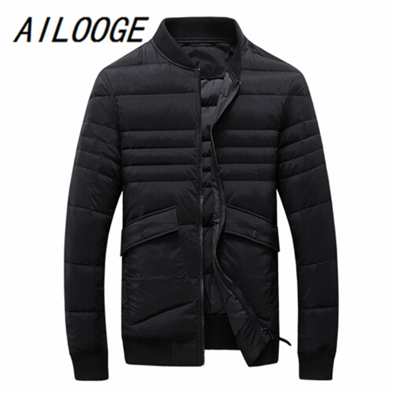2016 Mens down jacket 90% white duck down thick warm stand collar short parka High-quality winter coat plus size Bomber jacket
