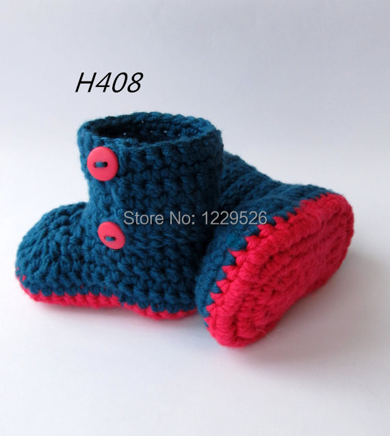 Baby Booties, Crochet Booties, Baby Shoes, Infant Booties, Toddler Shoes. Indigo And Red Color