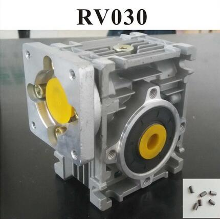 5:1 to 80:1 Worm Reducer RV030 Worm Gearbox Speed Reducer With Shaft Sleeve Adaptor for 8mm Input Shaft of Nema 23 Motor