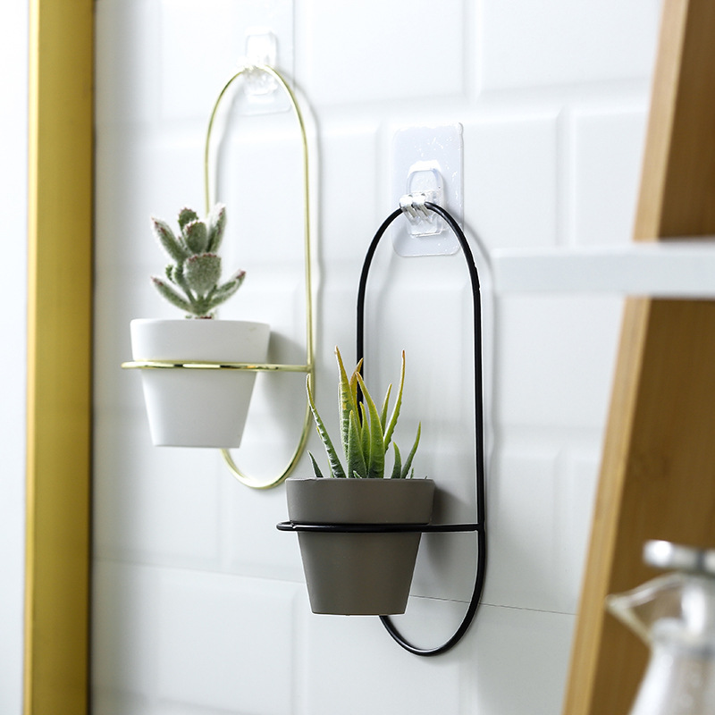 New 2 Pieces Pottery Planters Modern Wall Hanging Flower Pots with Metal Stands Small Vase Home Decoration