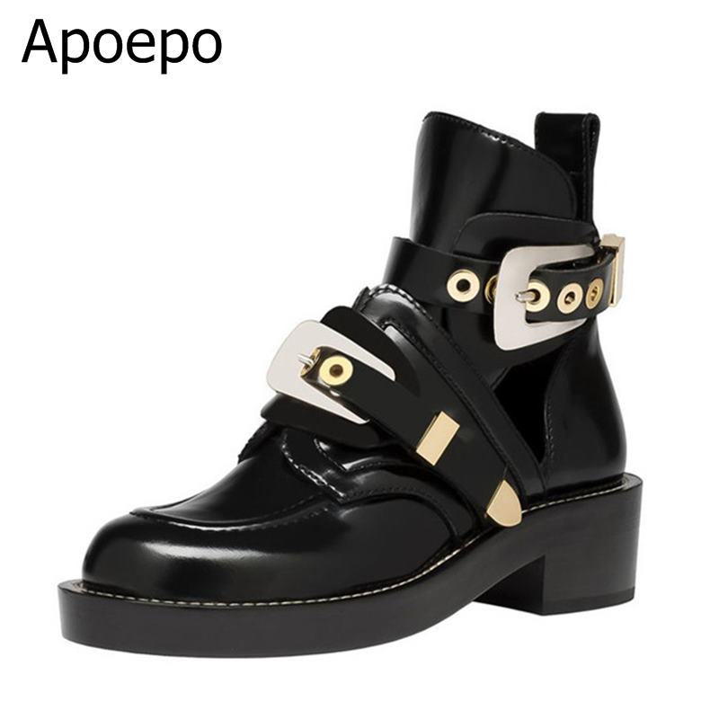 Newest Fashion Women Black Leather Golden Silver Metal Buckle Strap Ankle Boots Autumn Spring Round Toe Low Square Heel Shoes 2017 spring summer newest round toe