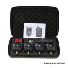 Lixada conjunto de alarmas para pesca 4 + 1, inalámbrico, tono de alerta de 4 mordeduras, sonido de volumen + 1 receptor, JY 27 LED para pesca de carpa
