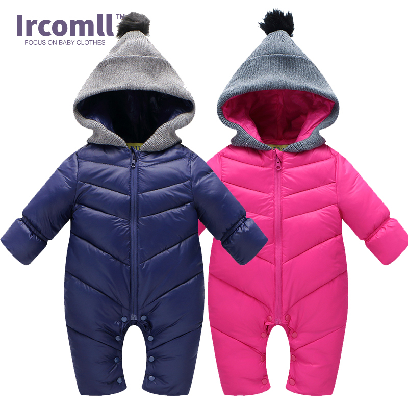Winter Baby Rompers Förbättrad jumpsuit Solid Color Hooded Håll Warm Duck Down Boys Girls Jumpsuit Högkvalitativ Baby Kläder 0-18M