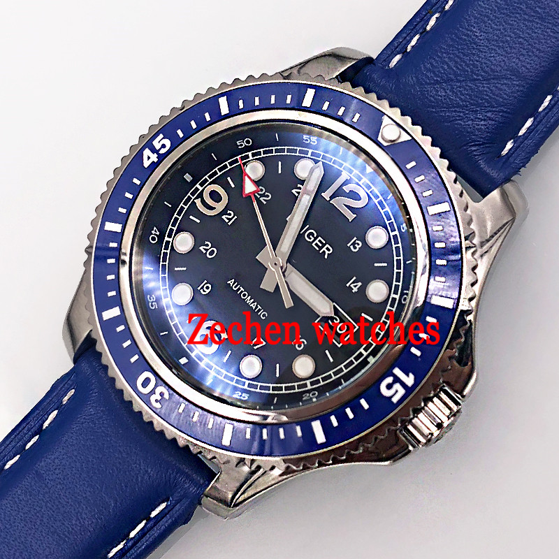 44mm bliger miyota sterile black dial sliver case blue ceramic bezel date window white Automatic mens Watch цена и фото