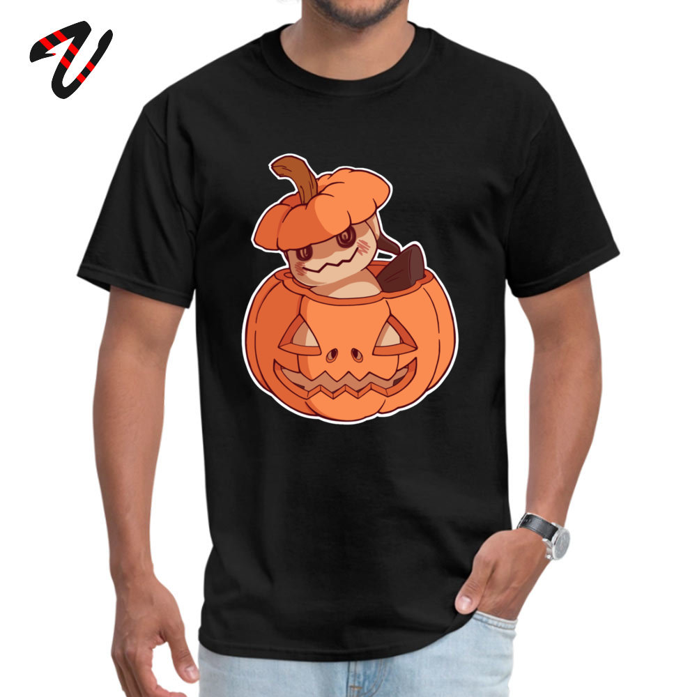 Halloween Mimikyu Normal Top T-shirts for Men Pure Cotton Summer Autumn Tops Shirt Clothing Shirt Short Sleeve Classic Crewneck Halloween Mimikyu 26608 black