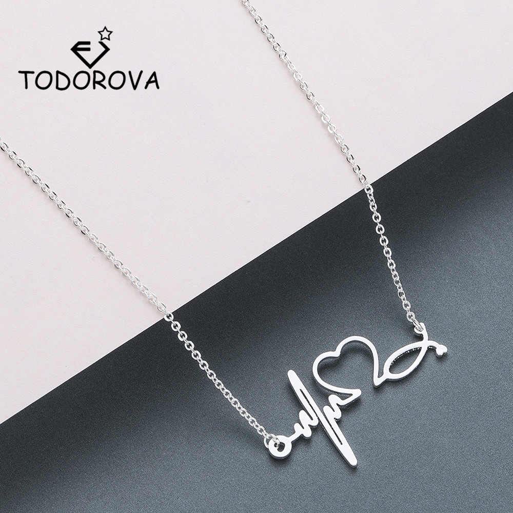 Todorova Stainless Steel Stethoscope Heartbeat Necklace Women Love Heart Necklaces & Pendants Medical Nurse Doctor Lover Gifts(China)