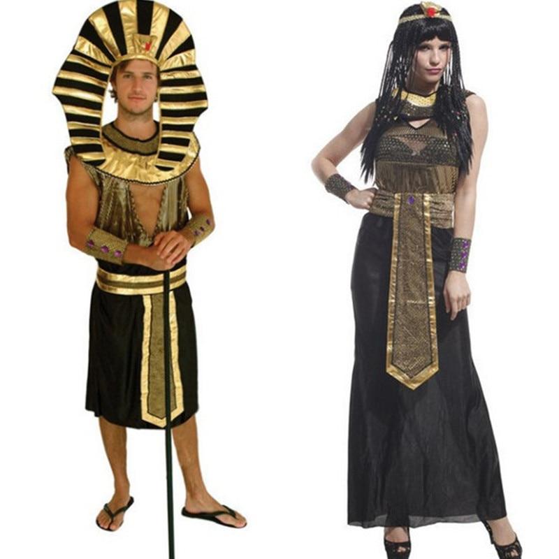 Halloween Adult Costumes Egyptian King Pharaoh performance Cleopatra Royal Queen sequin dress Couple costume women+men 2pcs