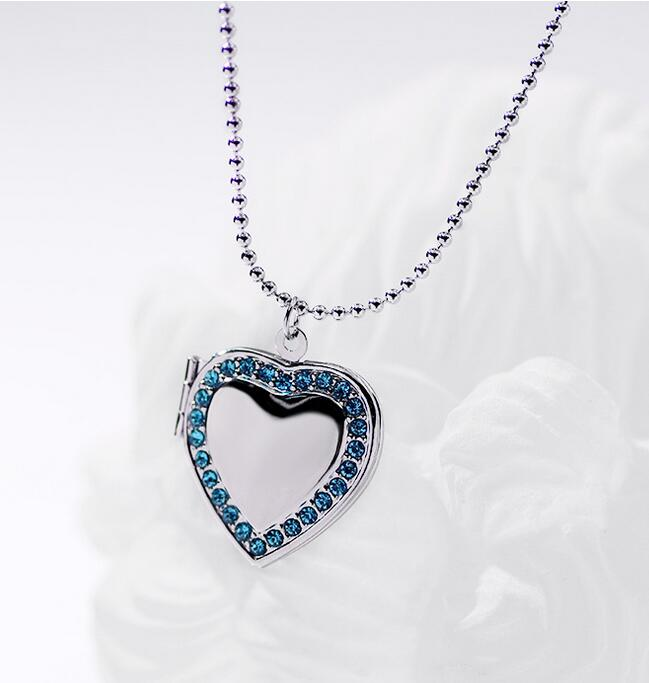 Classic Memory Photo Frame Rhinestone Crystal Heart Pendant Locket Necklace For Womens Jewellery Fashion Necklaces Jewelry 2