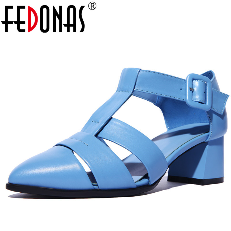 FEDONAS Women Genuine Leather Pumps Square High Heel Pointed Toe Spring Autumn Elegant Ladies Wedding Party Shoes Woman Pumps fedonas sexy women sandals high heel buckles wedding party shoes woman genuine leather ladies shoes pointed toe summer slippers