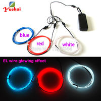 Hot Sales 2 3mm 1M X 3pcs Multicolor Flexible EL Wire Electroluminescent Wire Neon Glowing Strobing