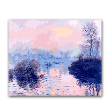 Coloring by numbers Sunset creek,impression sunrise Monets paintings pictures paints  with colors for hoom decor