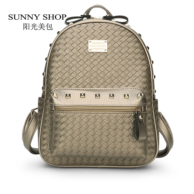 SUNNY SHOP  New Year Fashion Revits Women Backpack Casual Korean School Swoven Backpack Small Women Bag Fresh teenager bag 40Z