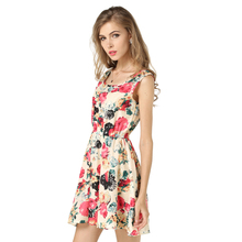 купить VZFF Fashion Women New Sleeveless Round Neck Florals Print Pleated Dress Summer Clothing Sweet Tank Dresses по цене 315.89 рублей