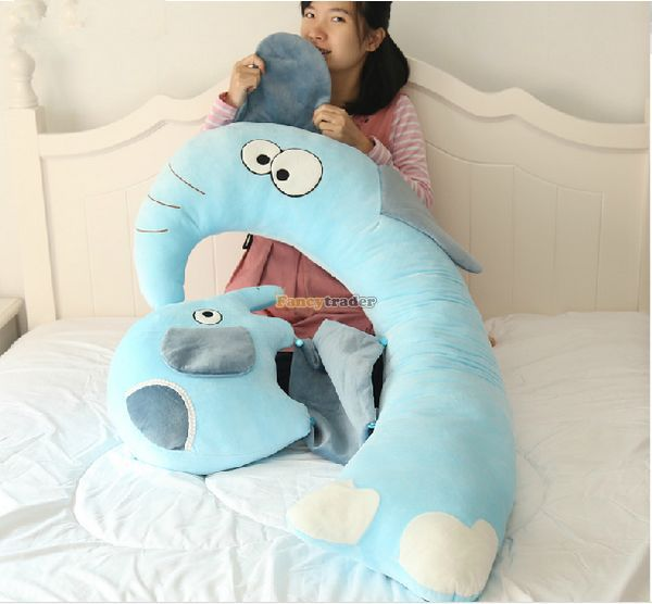 Fancytrader New 47'' / 120cm Lovely Big Plush Stuffed Giant Multifunctional Cartoon Elephant Pillow Bed, Free Shipping FT50890 - 5