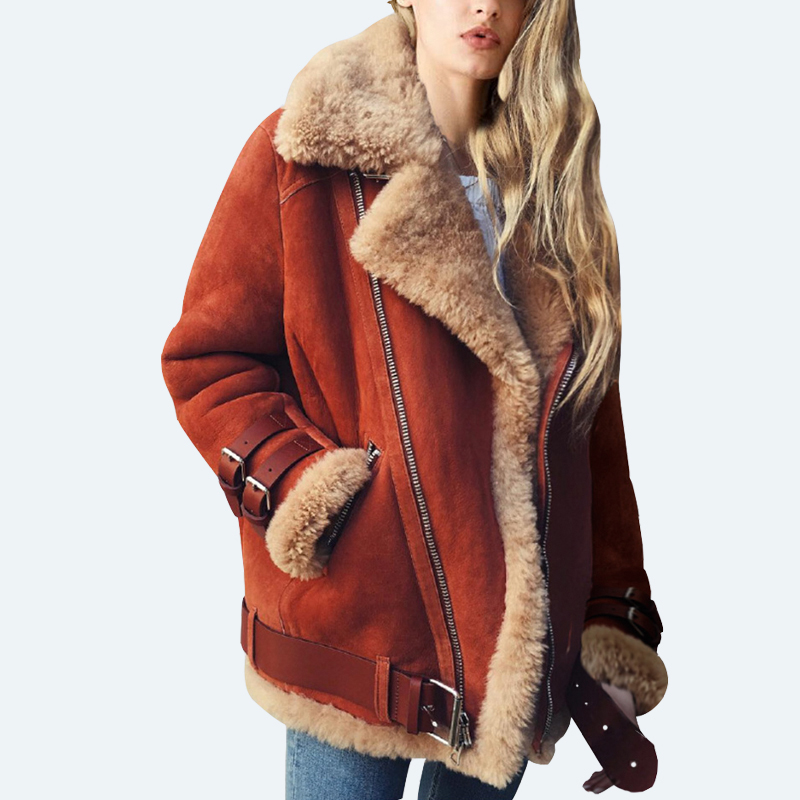 Suede   jacket Women PU Jacket Faux Fur Jackets Faux   Leather   thick Biker Coat Motorcycle outwear Plus Size Oversized winter jacket
