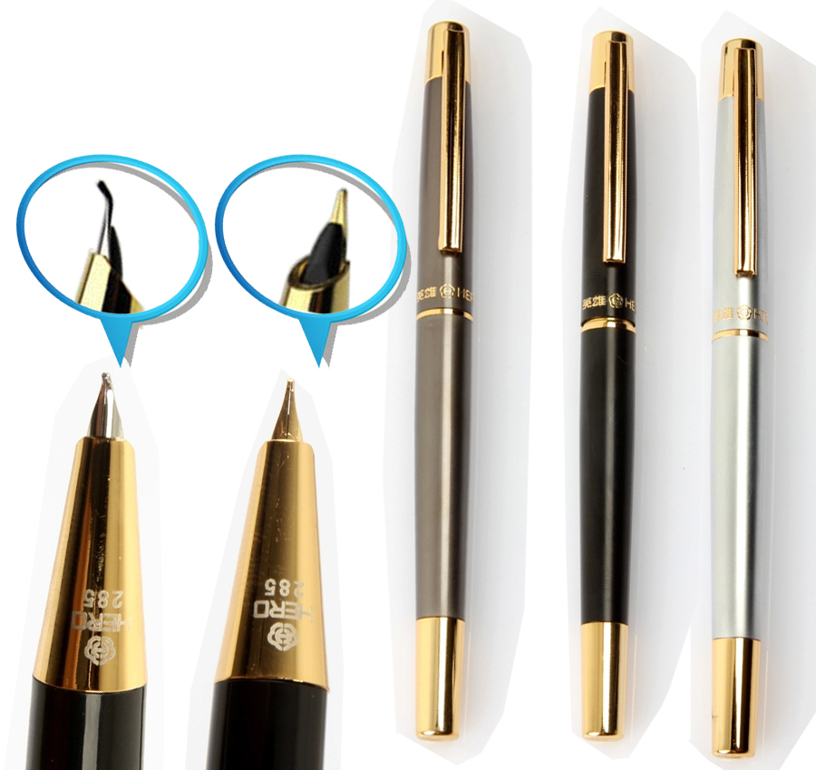 Fountain Pen  Calligraphy  Curved Nib or RollerBall pen HERO 285   office and school stationery  FREE SHIPPING 8pcs lot wholesale fountain pen black m 14 k solid gold nib or rollerball pen picasso 89 big executive stationery free shipping