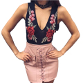 Womens Sexy Lace Crochet Choker Floral Embroidery Mesh Bodysuit Rose Playsuit Jumpsuit V Neck Off Shoulder Perspective Rompers