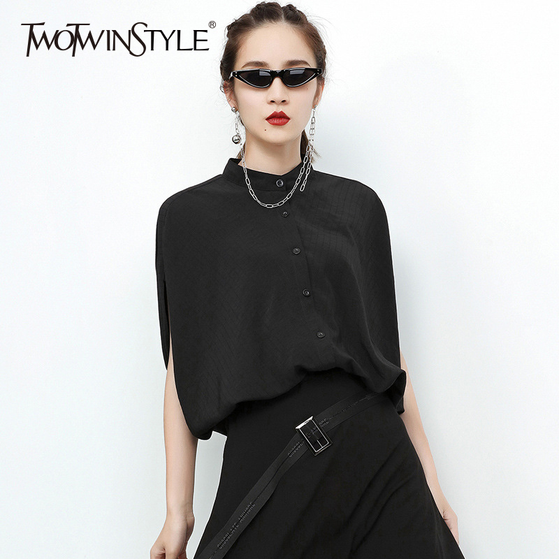 TWOTWINSTYLE Irregular Shirt For Women Stand Collar Batwing Sleeve Oversize Black Blouse 2018 Spring Summer Fashion OL Clothing