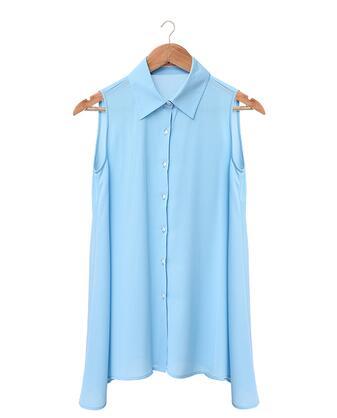 Summer Women's Tops Sleeveless Turn-down Collar Loose Blouse Female Loose Chiffon Shirt White Black Shirt Breathable Basic