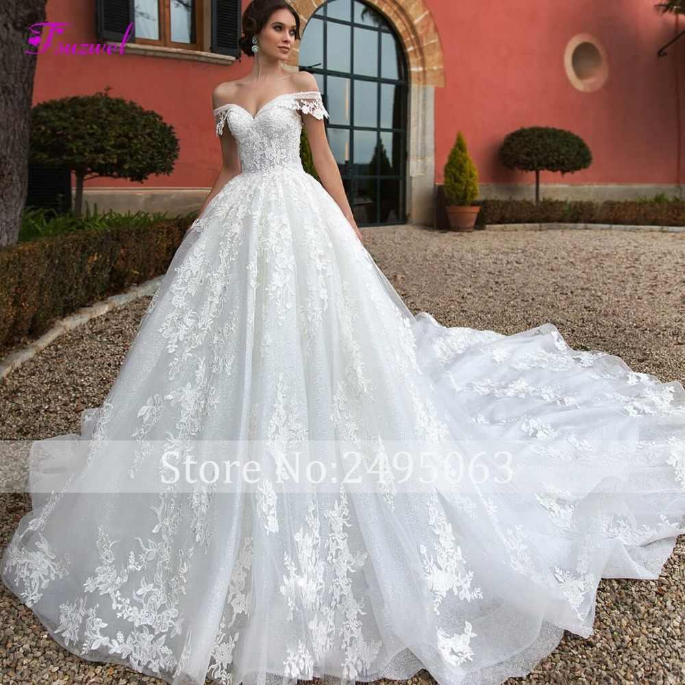 Fsuzwel סקסי סירת צוואר תחרה עד רויאל רכבת אונליין חתונה שמלת 2019 יוקרה חרוזים אפליקציות נסיכת הכלה שמלת חלוק דה mariage