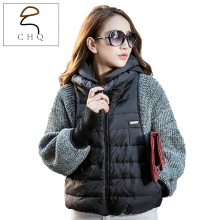 2016 European Grand Women's winter coat female models bat sleeve knit short paragraph down jacket brand