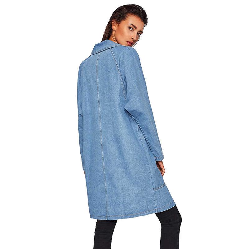 Новый Тренч Для женщин 2019 Демисезонный джинсовое пальто женское с длинным рукавом Свободные Большие размеры длинные джинсы ветровка пальто Для женщин A2411