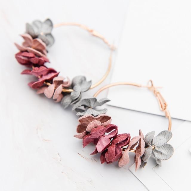 Fashion Fabric Flower Drop Earrings For Women 2018 Statement Colorful Petal Circ