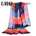 Шифоновый шарф печати женская мусульманская леди китайский стиль весной и осенью небольшой полосатый шарф узоры кабо shwal wrap 2017 новый