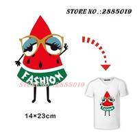 Fashion Watermelon Lady Iron-On Patches Thermal transfer Hot press Pyrography Ironing Stickers for Kids Girl Boy Dress Clothing