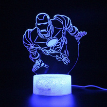 Led Light Projection Night 3D Lamp Marvel Heroes Avengers Endgame Figure Iron Man Table