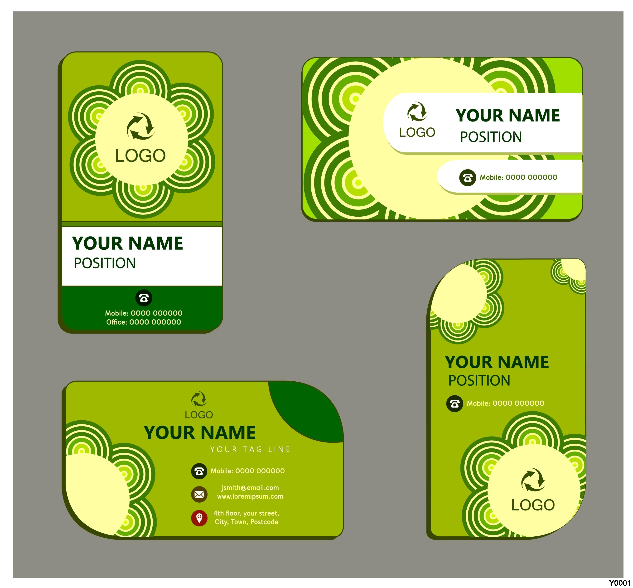 beautiful green business paper card with round corners 300gsm paper card template Y0049