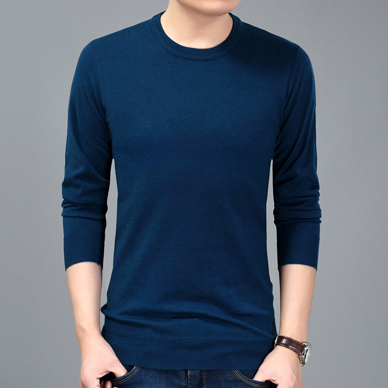 Sweater Men's Casual Long Sleeve Pullover Men's Solid Color Round Neck Sweater S-4XL Men's Loose Large Size Knit Knit Sweater