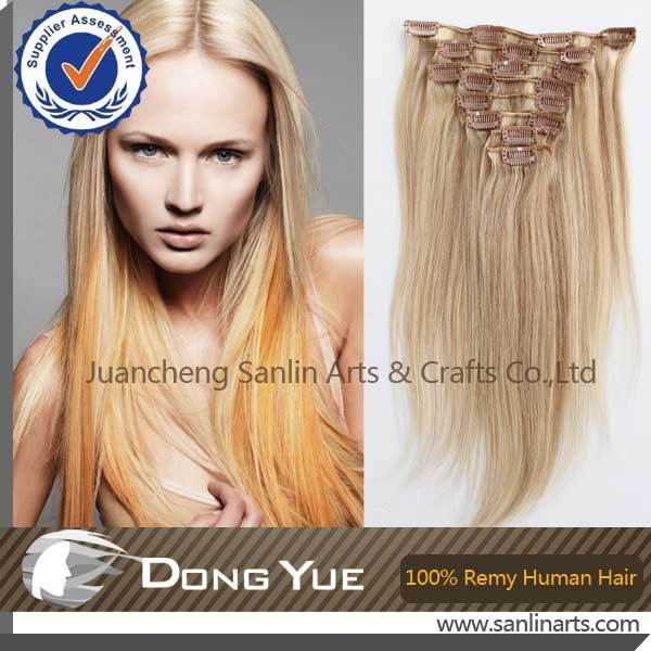 18613 Blonde Highlight Clip In Remy 100 Human Hair Extensions Full