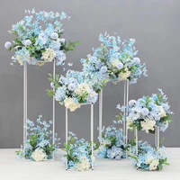 Square Floor Vases Flowers Vase Column Stand Metal Pillar Road Lead Wedding Centerpieces Rack Event Party Christmas Decoration
