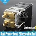 DIY 3D impresora Heaterblock Ultimaker 2 + UM2 doble cabezas extrusora Olsson bloque kit boquillas 0,25/0,4/0,6 /0,8mm de salida HotEnd para 1,75/3mm