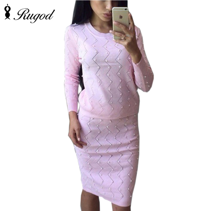 RUGOD 2019 Fashion 2 Piece Pearl Set Women Suit Knitted Long Sleeve Sweet Pearls Sweater + Pencil Skirts 2pcs Beading Skirt Sets