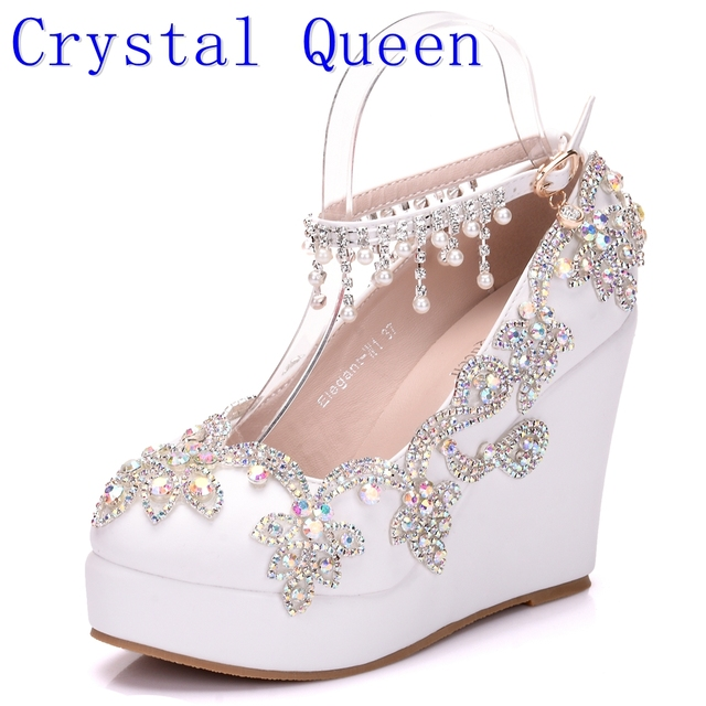 Crystal Queen New Fashion Rhinestone Wedges Pumps Shoes Women Sweet Luxury Platform Wedding Heels