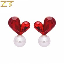 Hot Sale Fashion Heart Shape Gray Red Crystal Simple Water Drop Simulated White Pearl Stud Earrings for Women Jewelry Bijoux(China)